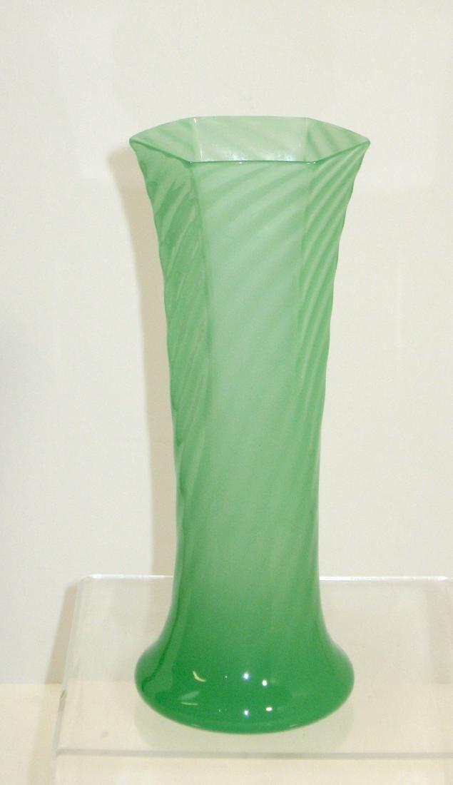 Steuben green jade bud vase, - 3