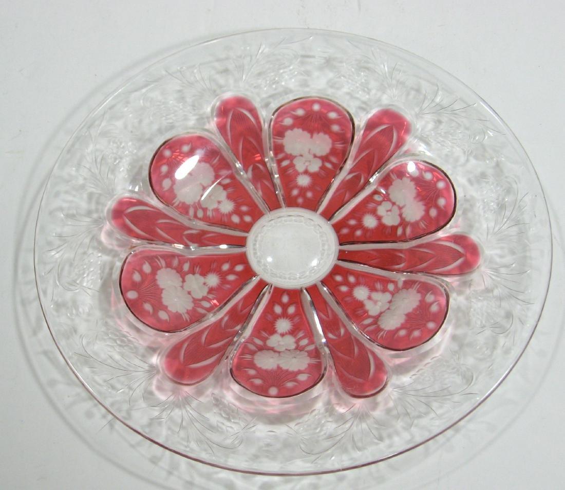 Steuben Gold Ruby cut plate - 2