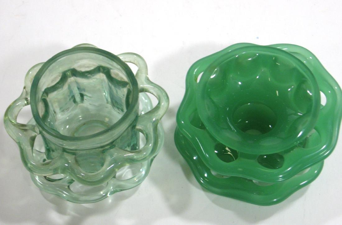 2 Steuben green flower frogs, - 3