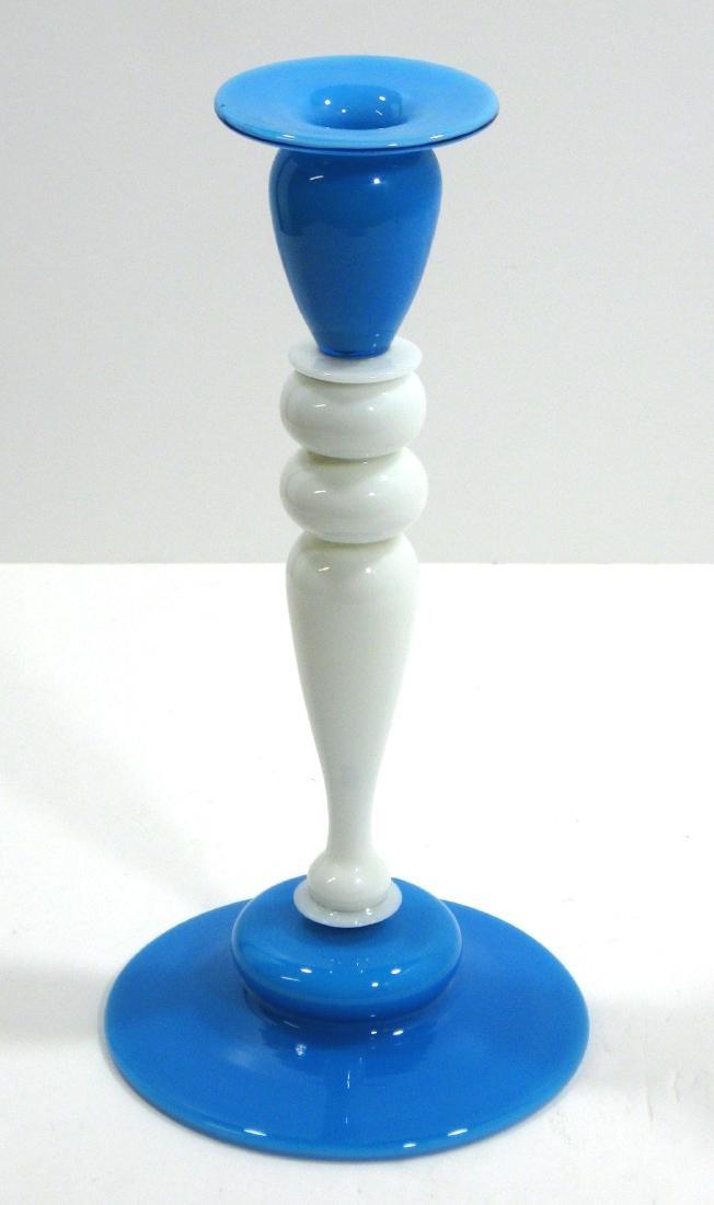 Steuben Blue Jade candlestick - 2
