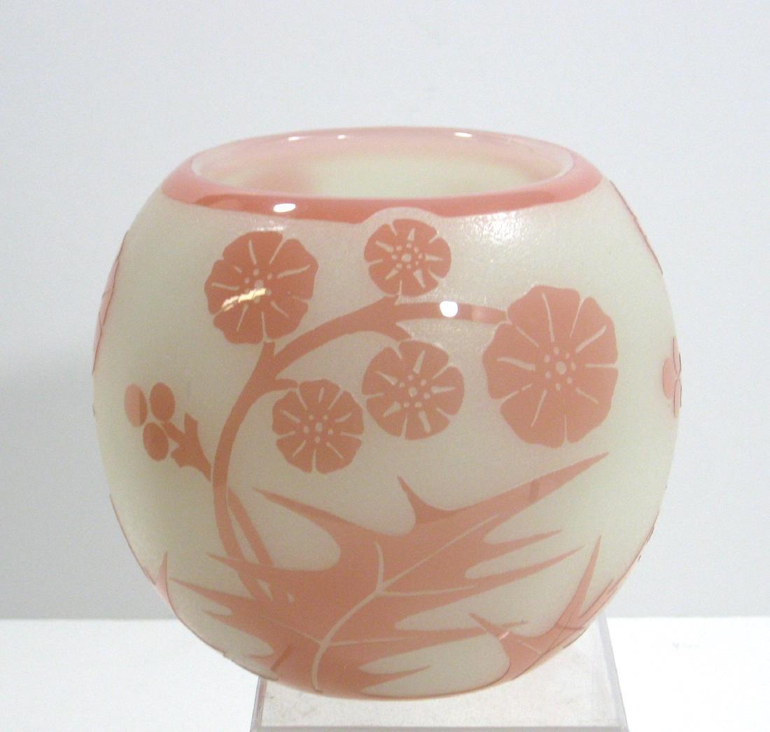 Steuben Rosaline ACB glass vase, - 3