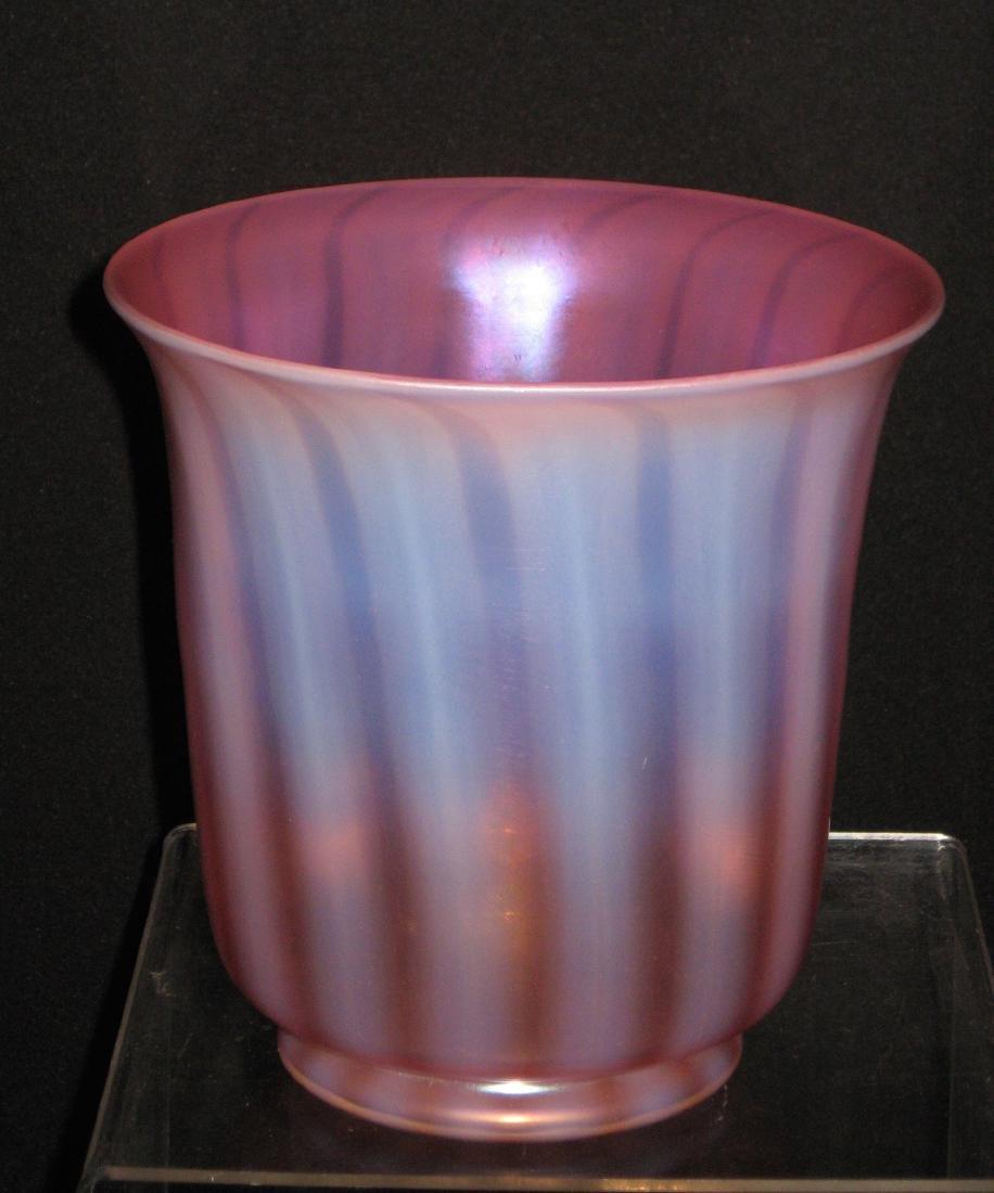 Steuben Oriental Poppy glass vase,