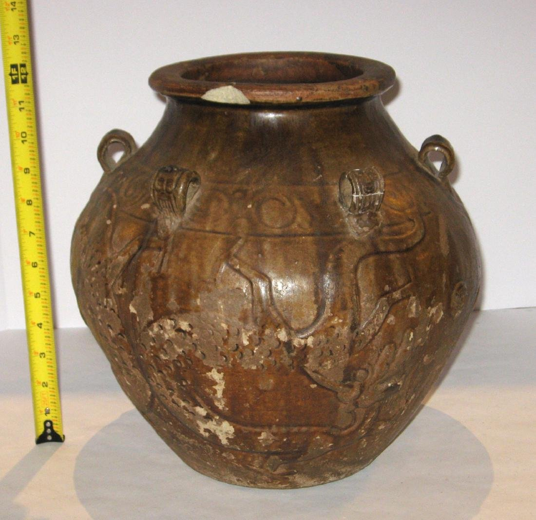 Ancient Chinese pottery vase, - 8