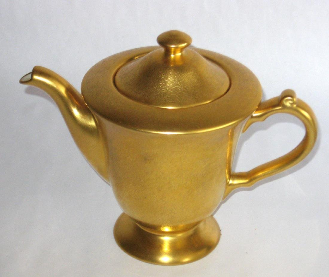 Pickard gold porcelain tea pot - 2