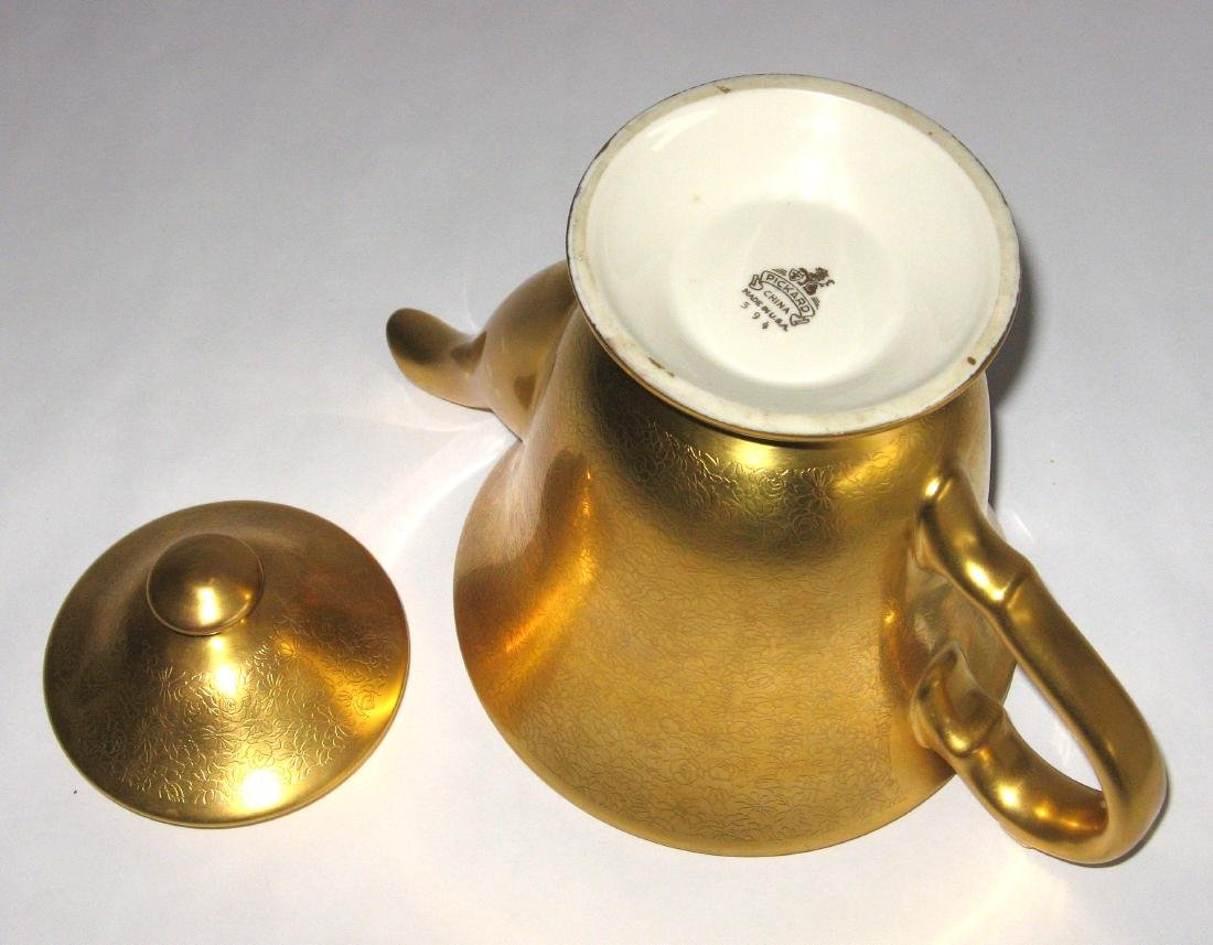 Pickard gold porcelain tea pot - 3