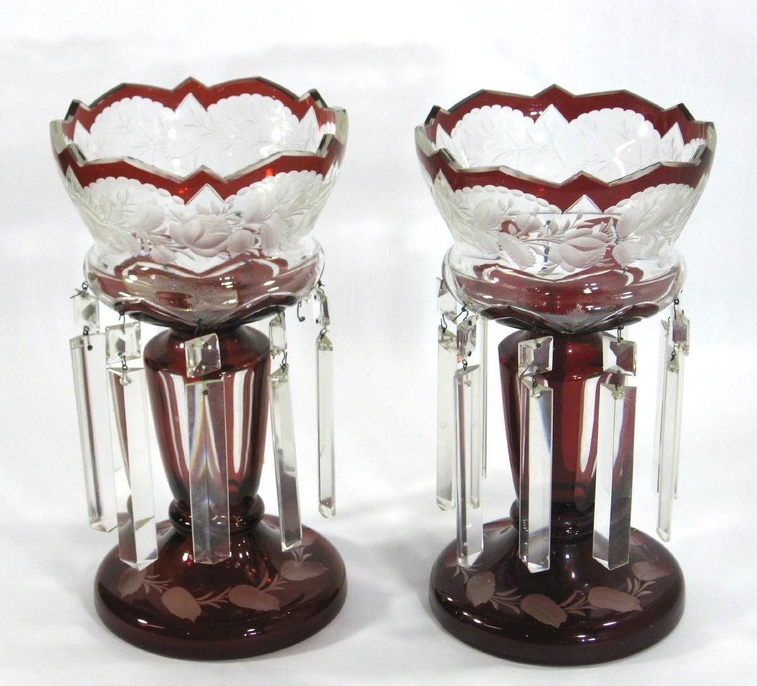 Pair of cranberry glass lusters,