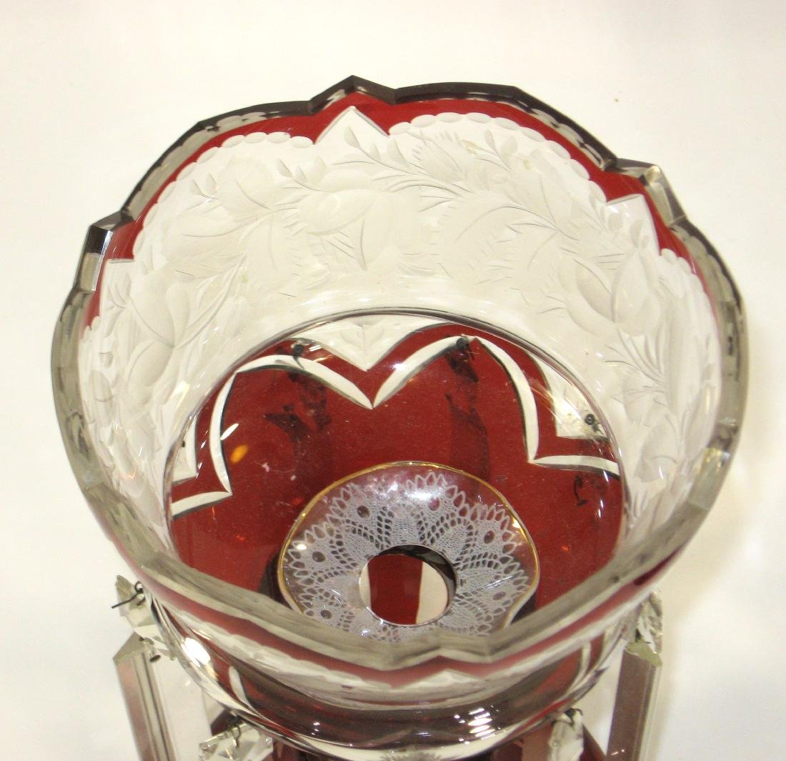 Pair of cranberry glass lusters, - 4