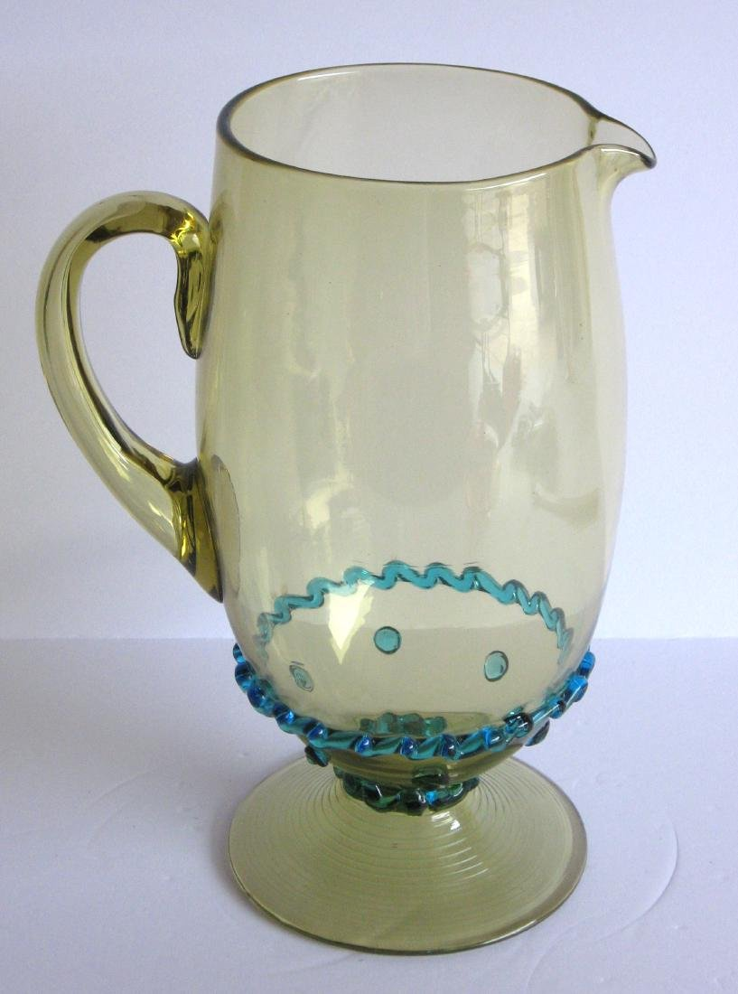 Steuben rigaree glass water pitcher