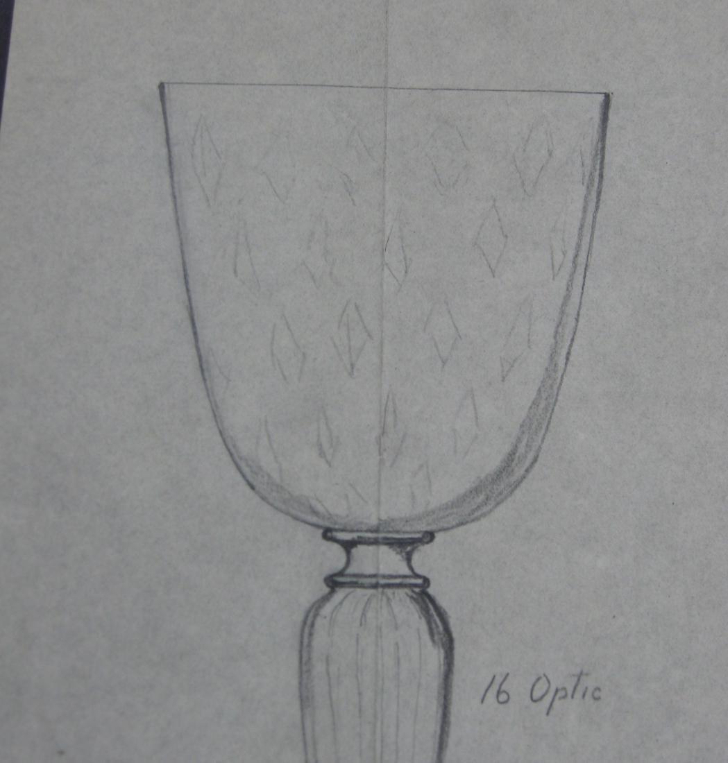Original Steuben line drawing - 2