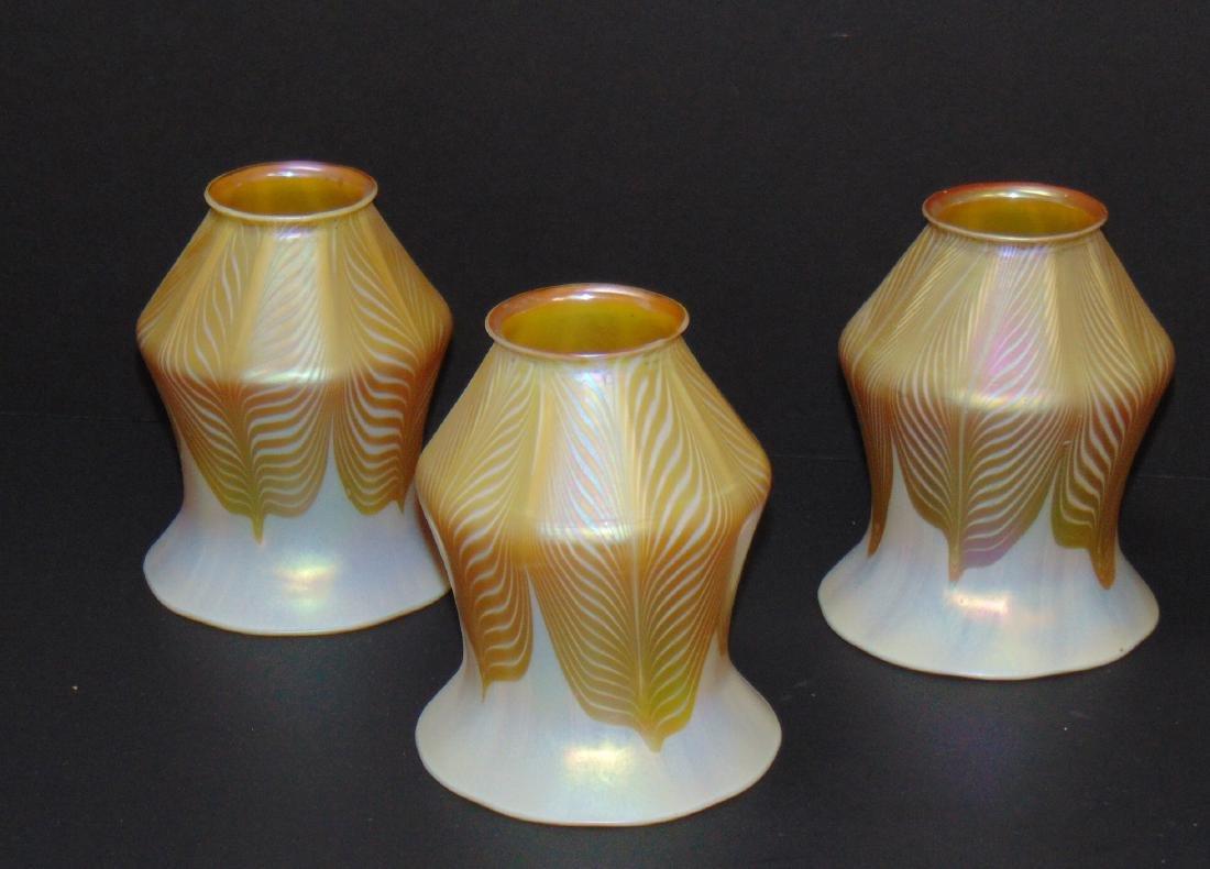3 Quezal art glass shades
