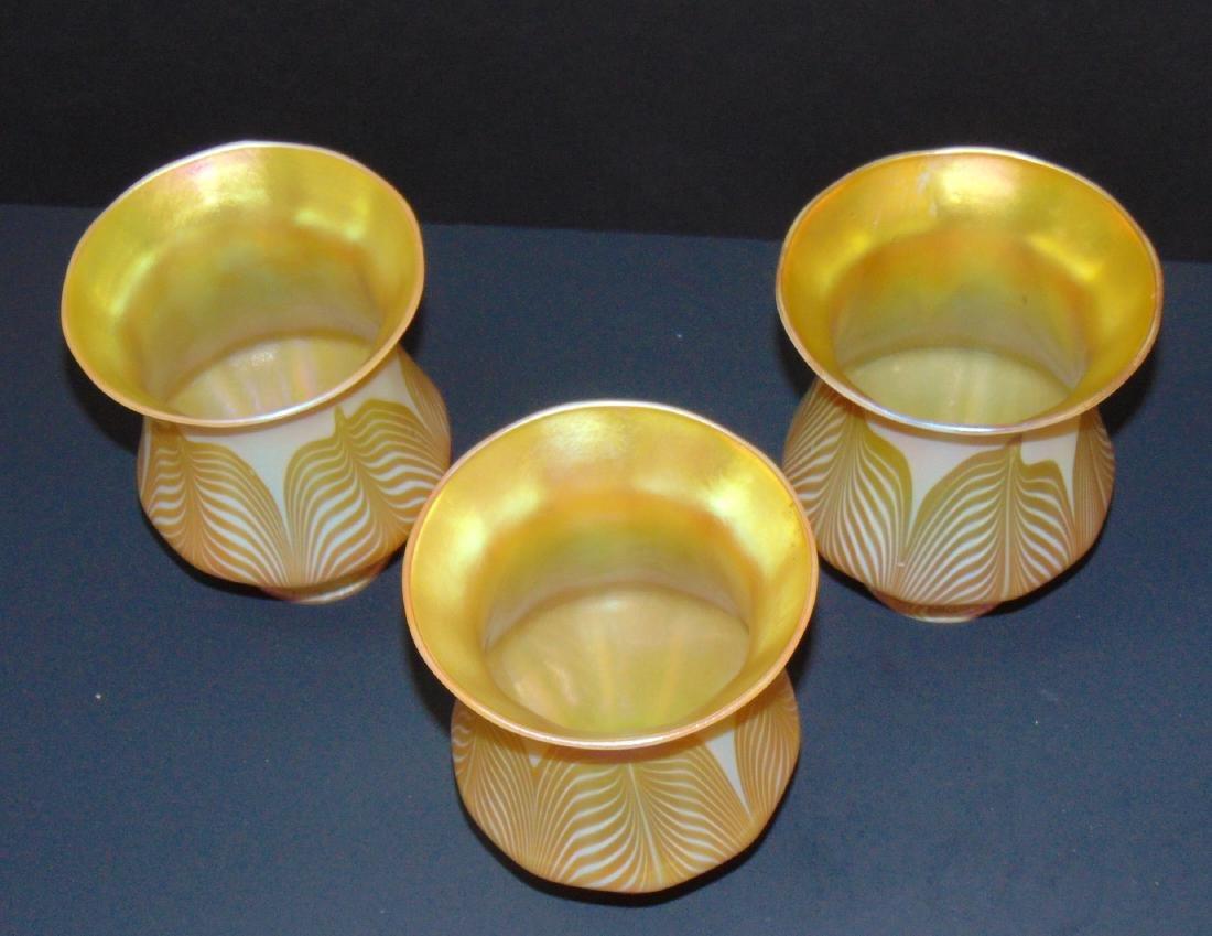 3 Quezal art glass shades - 2
