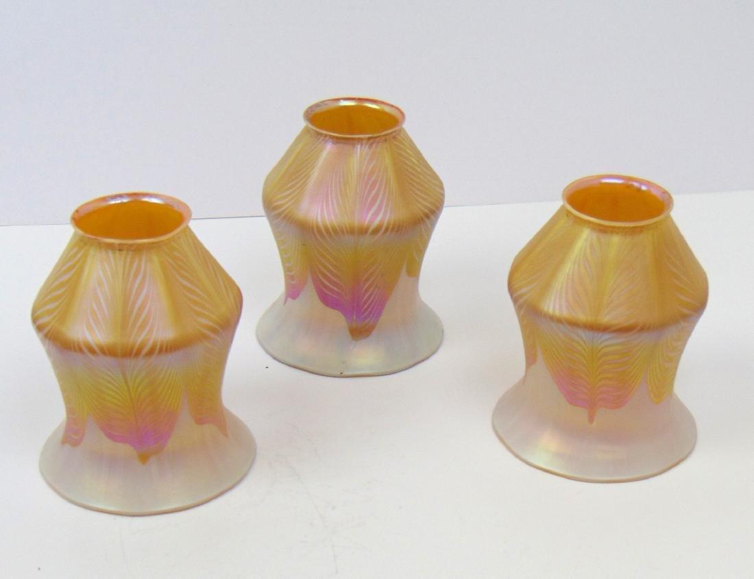 3 Quezal art glass shades - 3