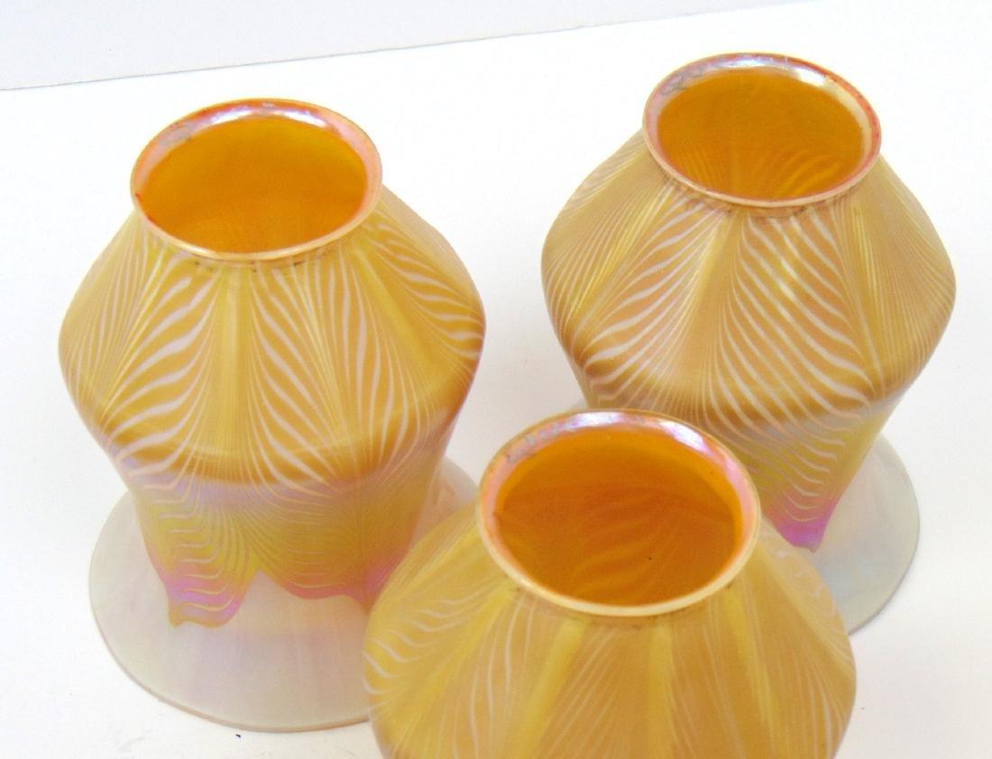 3 Quezal art glass shades - 5