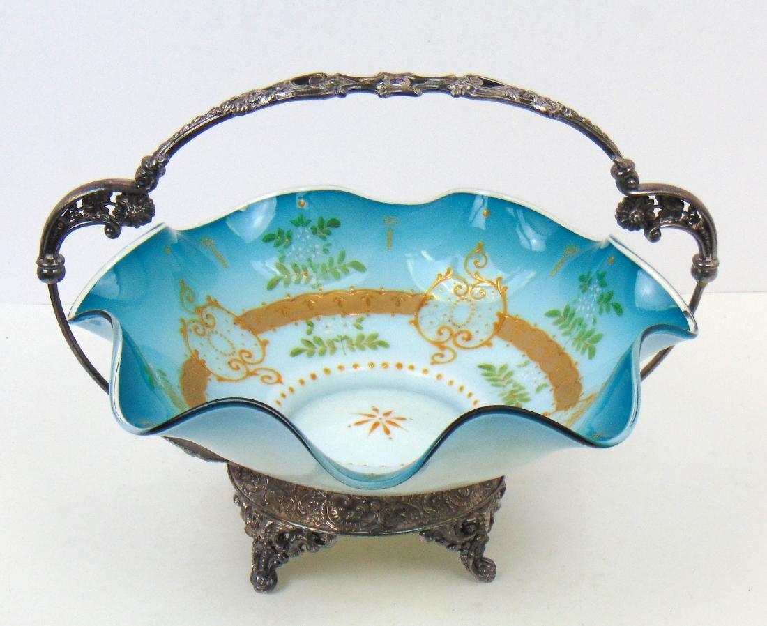 Blue satin glass brides basket