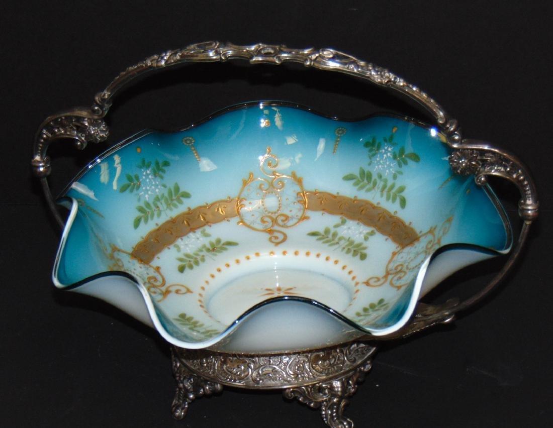 Blue satin glass brides basket - 3
