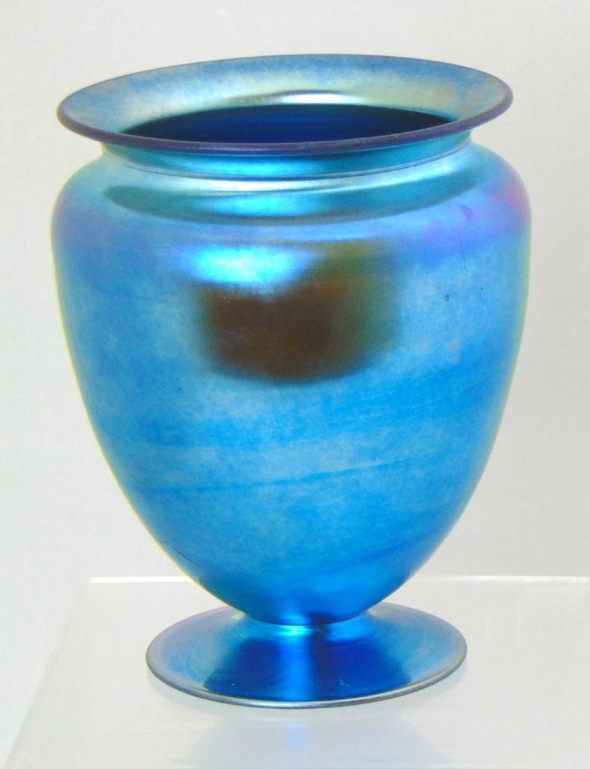 Steuben Blue Aurene glass vase, - 3