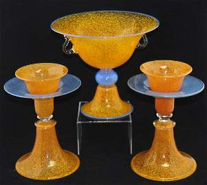 Steuben compote and candlesticks