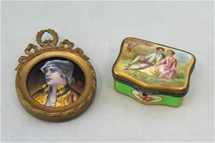 Two Vintage enameled items