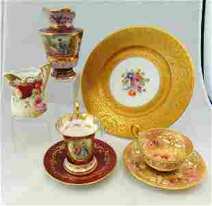 7 piece grouping of European porcelain