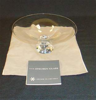 Steuben crystal glass compote