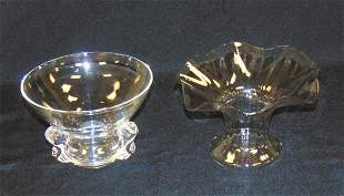 Two clear Steuben glass bowls