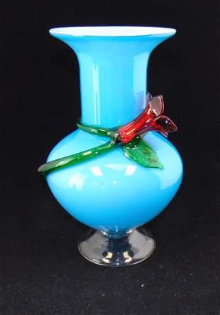 Blue applied satin glass vase