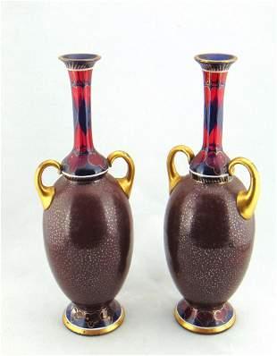 Pair of G Boutigny art glass vases