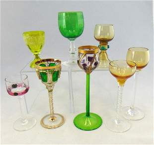 Group of eight glass cordials