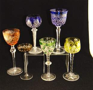 Six cut to clear glass goblets