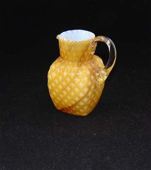 Cut Velvet satin glass pitcher