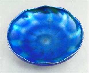 Tiffany Blue Favrile glass compote