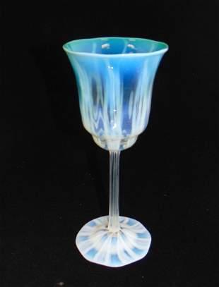 Tiffany green pastel glass goblet