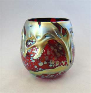 Charles Lotton red Lava glass vase