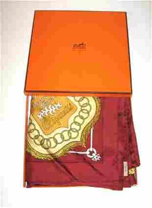 "Hermes ""Cliquetis"" silk scarf and box"