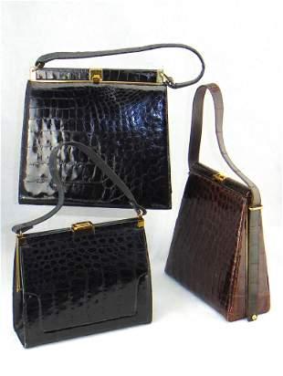 Three Vintage Alligator handbags