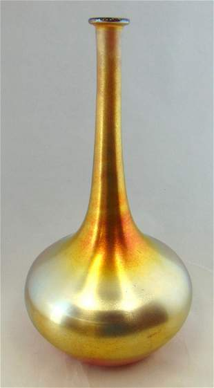 Durand Iridescent gold glass vase