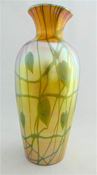 Durand tall Gold Heart and Vine vase