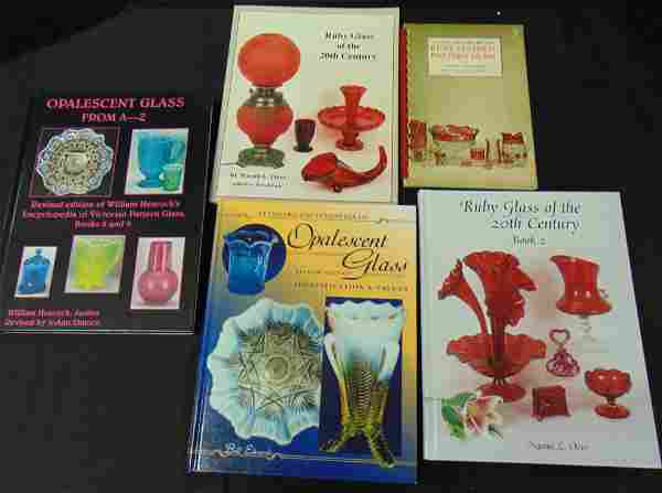 Five Opalescent and ruby glass books
