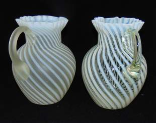 2 Northwood Opalescent Swirl pitchers