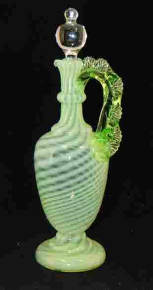 Green opalescent cruet