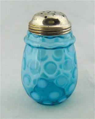 Blue opalescent Coin spot sugar shaker
