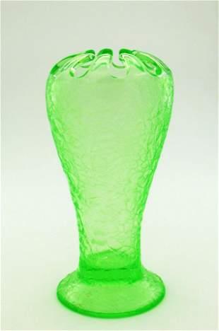 Tiffin ice etched flower frog vase