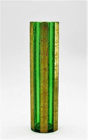 Moser faceted green vase with gilt panels