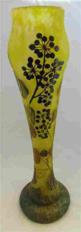 Tall Daum Nancy French cameo vase