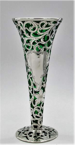 Silver overlay trumpet vase