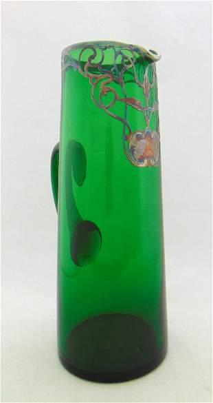 Silver overlay green tankard