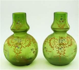Pair of Loetz green enameled vases