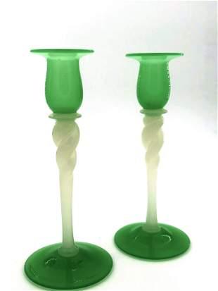 Steuben green Jade candlesticks