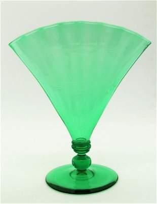 Steuben Pomona green fan vase
