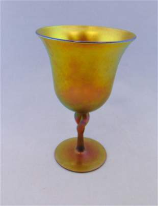 Steuben Gold Aurene goblet